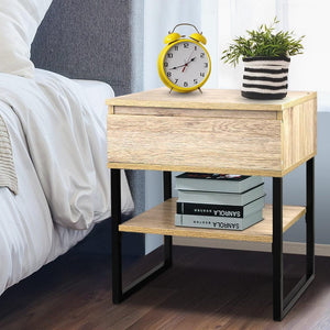 Josie Bedside Table, Metal & Wood