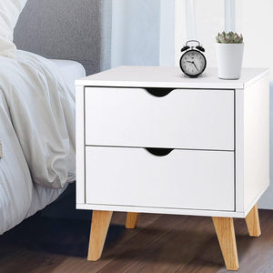 Sherie Bedside Table, w/ 2 Drawers, White