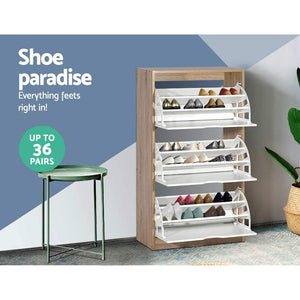 Denby 3 Compartment Shoe Cabinet, 36 Pairs, White