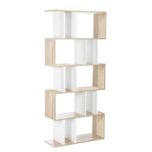 Load image into Gallery viewer, Artiss 5 Tier Display Book Storage Shelf Unit - White Brown