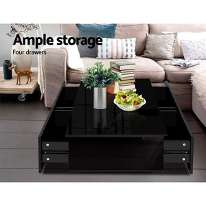 Coffee Table & Storage, 4 Drawers, High Gloss Black
