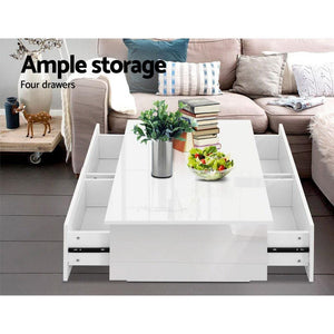 Coffee Table & Storage, 4 Drawers, High Gloss White