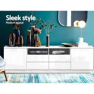 Vasanti Entertainment Unit, 4 Drawer, High Gloss White, 180cm