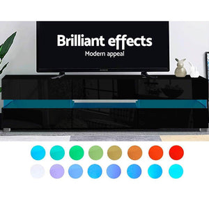 Vasanti Entertainment Unit, LED, Gloss Black 177cm