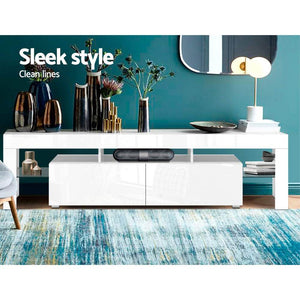 Fener Entertainment Unit, LED, Glass, White, 189cm
