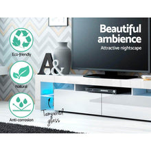 Load image into Gallery viewer, Fener Entertainment Unit, LED, Glass, White, 189cm