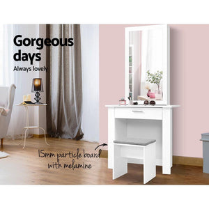 Amor Dressing Table & Stool, White