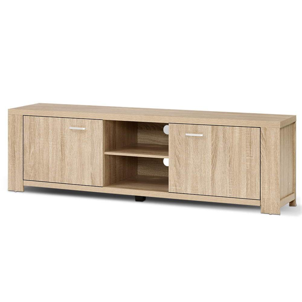TV Cabinet Entertainment Unit, TV Stand Display Shelf Storage Cabinet, Wooden, Oak, 160cm x 40cm x 45cm