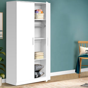 Meyer Multi-Purpose Cupboard, White, 2 Door, 180cm