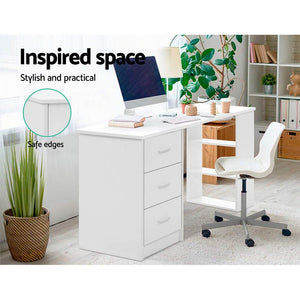 Bobb Computer Desk, w/ 3 Drawers, White, 120cm