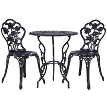 Load image into Gallery viewer, Gardeon 3PC Outdoor Setting Cast Aluminium Bistro Table Chair Patio Black