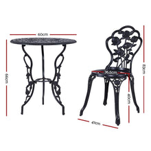 Load image into Gallery viewer, Outdoor Bistro Set, 2 Seater, Aluminium, Black