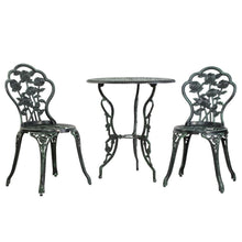 Load image into Gallery viewer, Gardeon Outdoor Furniture Chairs Table 3pc Aluminium Bistro Green