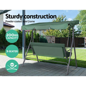 Outdoor Swing Chair, 3 Seater, Green