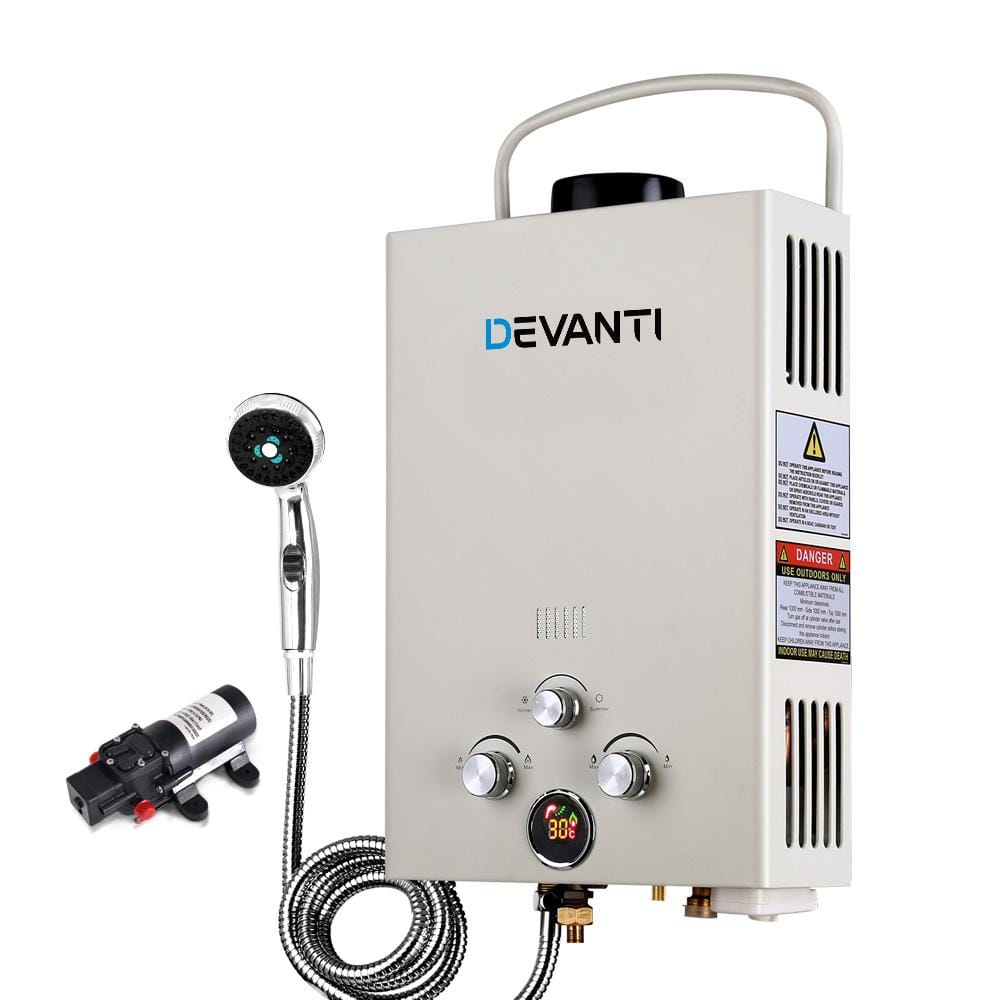 Devanti Outdoor Portable LPG Gas Hot Water Heater Shower Head 12V Water Pump Beige