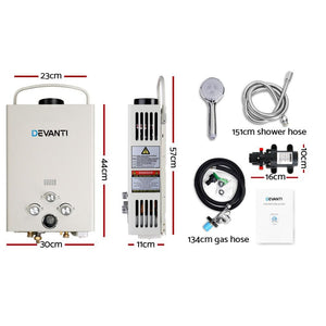 Water Heater & Shower, Gas, Portable, 12v Pump, Beige
