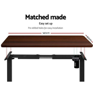 Motorised Standing Desk Black Frame, Adjustable, Walnut, 140cm