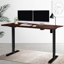 Load image into Gallery viewer, Motorised Standing Desk Black Frame, Adjustable, Walnut, 140cm