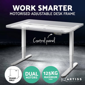 Motorised Standing Desk, Dual Monitor, White