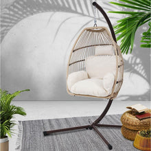 Load image into Gallery viewer, Hanging Swing Egg Chair, Wicker, Latte