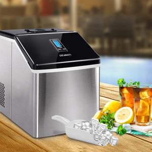 Ice Cube Maker & Water Dispenser, Stainless Steel, 3.2L