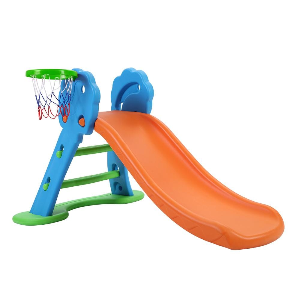Keezi Kids Slide with Basketball Hoop with Ladder Base Outdoor Indoor Playground Toddler Play