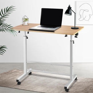 Laptop Stand Desk, Portable, Light Wood, 80cm