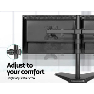 Dual Monitor Arm, Fully Adjustable, Freestanding, Black