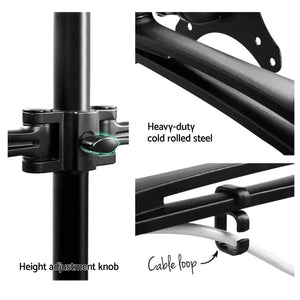 Monitor Screen Holder, 2 Arm, Fully Adjustable, Black