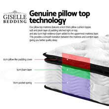 Load image into Gallery viewer, Pillow Top Pocket Spring Mattress, Latex, Single