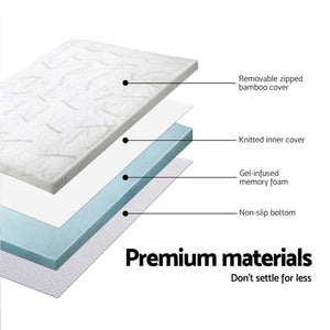 Memory Foam Mattress Topper, Bamboo, Cool Gel, Single