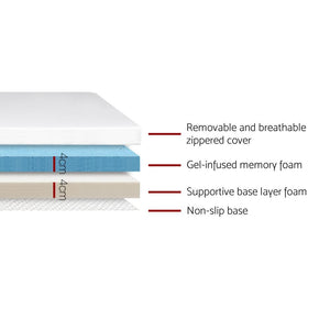 Memory Foam Mattress Topper, Dual Layer, Cool Gel, Single