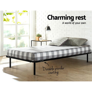 Petron Bed Frame, Metal, Black, King Single