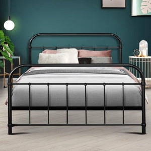 Bed Frame, Metal, Black, Double
