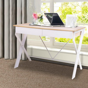 Office Desk & Drawers, White, Oak