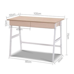 Drake Computer Desk, White, Oak