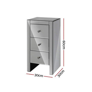 Mirrored Bedside Table, Grey