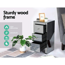 Load image into Gallery viewer, Mirrored Bedside Table, Grey