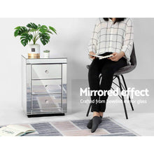 Load image into Gallery viewer, Mirrored Bedside Table, Presia Silver