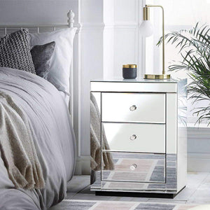 Mirrored Bedside Table, Presia Silver