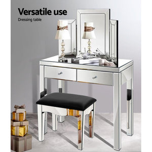 Dressing Table & Stool Set, Silver