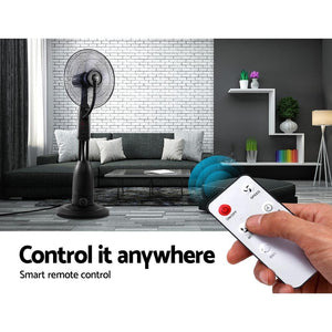 Misting Fan, Misting Fan, Timer, 5-Blades, Cool Water, Remote, Silver