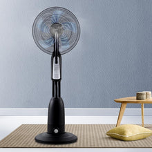 Load image into Gallery viewer, Misting Fan, Misting Fan, Timer, 5-Blades, Cool Water, Remote, Silver