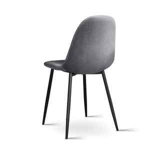 Dolores Dining Chairs, Velvet, Dark Grey (Set of 4)