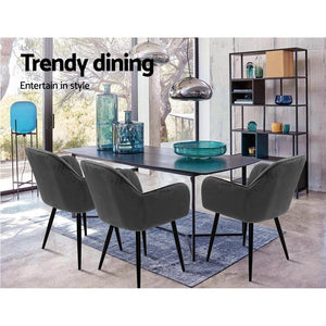 Adara Dining Chairs, Velvet, Grey (Set of 2)