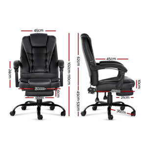Office Massage Chair & Footrest, Black