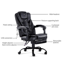 Load image into Gallery viewer, Office Massage Chair & Footrest, Black
