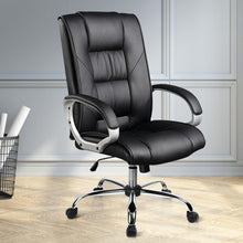 Load image into Gallery viewer, Swivel Office Chair, Leather, Black