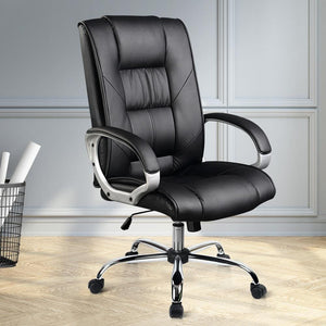 Swivel Office Chair, Leather, Black