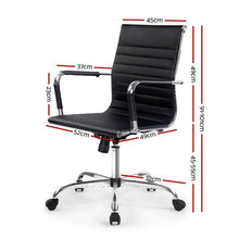 Load image into Gallery viewer, Eames Replica Office Chair, Mid Back, Leather, Black